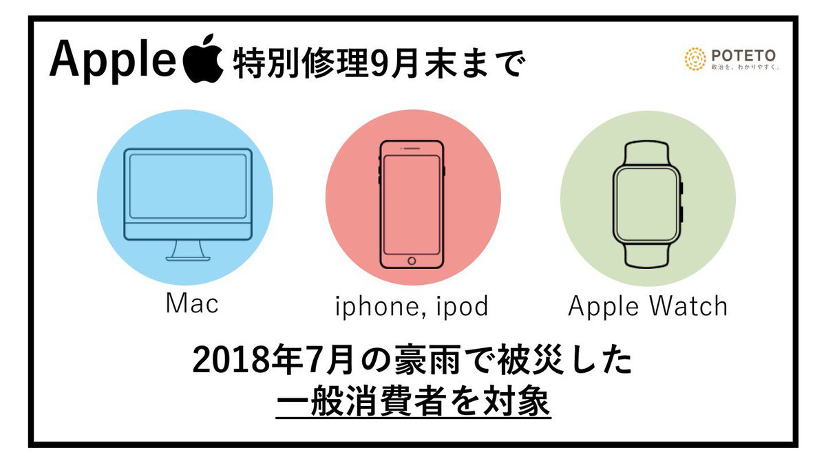 DjTnLUOXgAAtEq  - Apple、西日本豪雨被害に対する無償修理開始