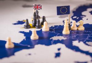AdobeStock 206605609 300x207 - Chess pieces over an european map. Brexit concept
