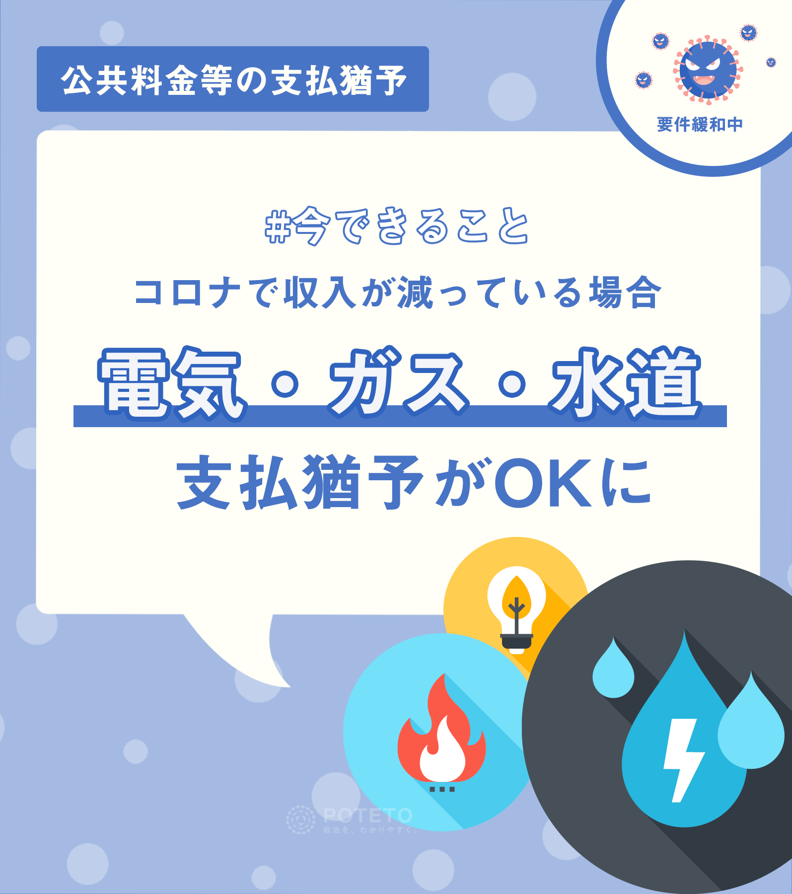 2cfff265ce7b47279ac2c97b5f2f159e - 「電気・ガス・水道」の支払い猶予